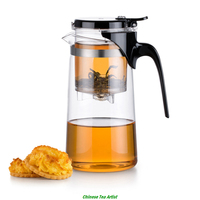 Durable Heat Resistant Borosilicate Glass Teapot with Infuser&Lid 750ml, Tea Maker for Simplified Tea Ceremony
