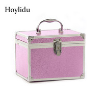 Anti theft Lock Professional Makeup Box Women Aluminum Alloy Cosmetic Bags Double Layer Large Capacity Lady Beauty Toiletry Case