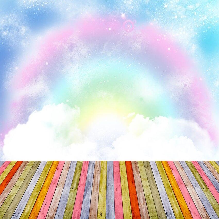 Vinyl Fantasy Blue Sky Clouds Rainbow Backdrop Photography ...