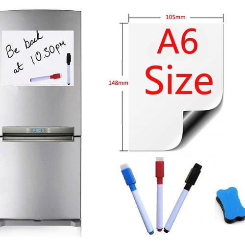 A6 Size Magnetic Whiteboard Fridge Magnets Presentation Board Home Kitchen Message Boards Writing Sticker Magnets 1 Eraser 3 Pen Pakistan