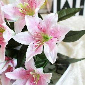 Image 4 - 1 cái 10 Người Đứng Đầu Nhiều Màu Nhân Tạo Lily Flower Bouquet Hoa Giả Bridal Hoa Wedding Trang Trí Vòng Hoa P20