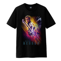 Mens Casual 2016 Movie Star Trek Beyond Poster Cosplay Black Short Sleeve O Neck Cotton T