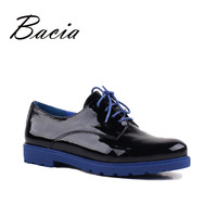 Bacia Women Quality Flats Genuine Leather Lace up Shoes For Spring Autumn Handmade Large Size Footwear Casual Wear Shoes VE009