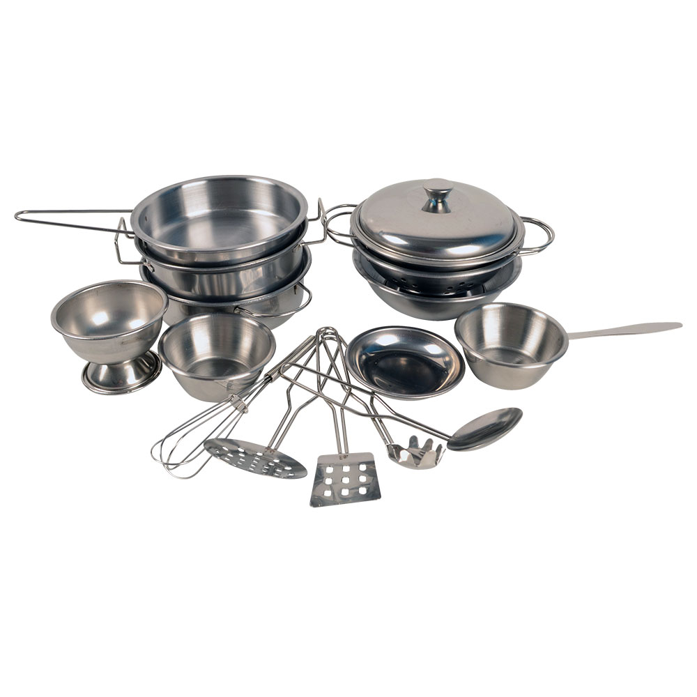 Stainless Steel Toy Pots And Pans Pretend Play Kitchen Set