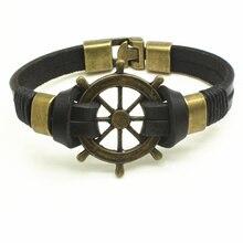2016 Mens Trendy Leather Rope Handmade Double Layer Rudder Bracelet Men Punk Bracelet Bangles Jewelry Charme Pulseira