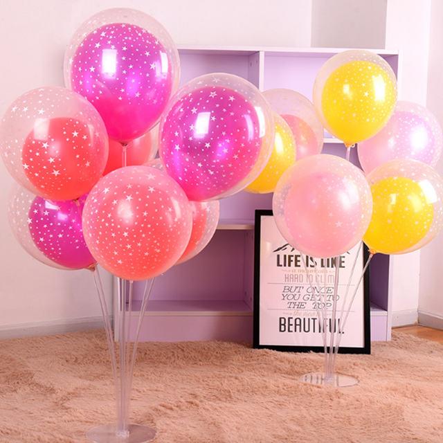 Transparent Star Printed Latex Balloon Set 10 Pcs