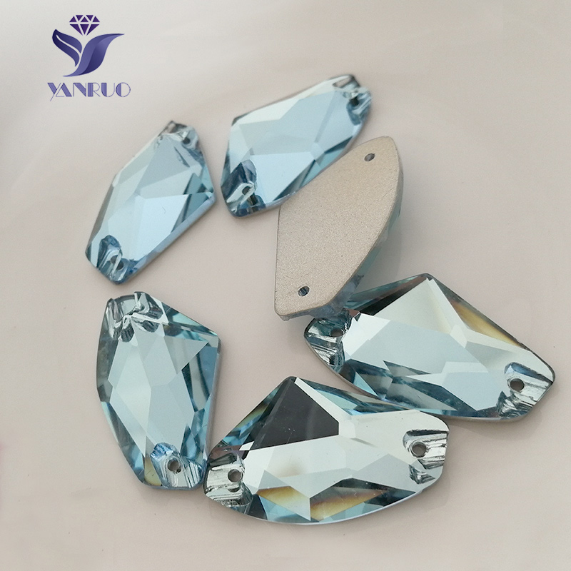 YANRUO 3256 Galactic Aquamarine Sew On Stones Glass Rhinestones Stones Flatback Sewing For Clothes