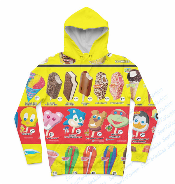 Real USA Size Ice Cream Menu 3D Sublimation print Custom made hoody/hoodies plus size
