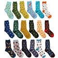 Nuevos caramella plátano alces calcetines para pareja happy socks calle harajuku marea hit color ocasional de compresión de algodón para hombre calcetines 45 w