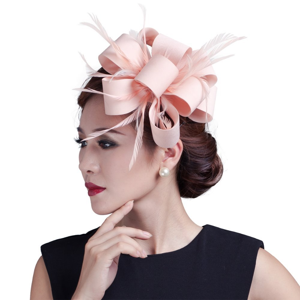 2017 Elegant Lady Satin Bows Fascinator with Feathers Women Clip Fashion Hair Accessories for wedding race