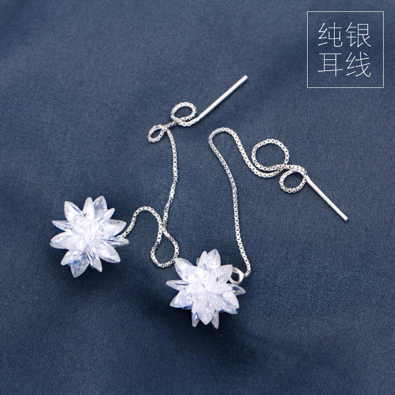 Real. 925 STERLING SILVER Jewelry Pull Through Flower chain Threader Long Earrings Dangle GTLE279
