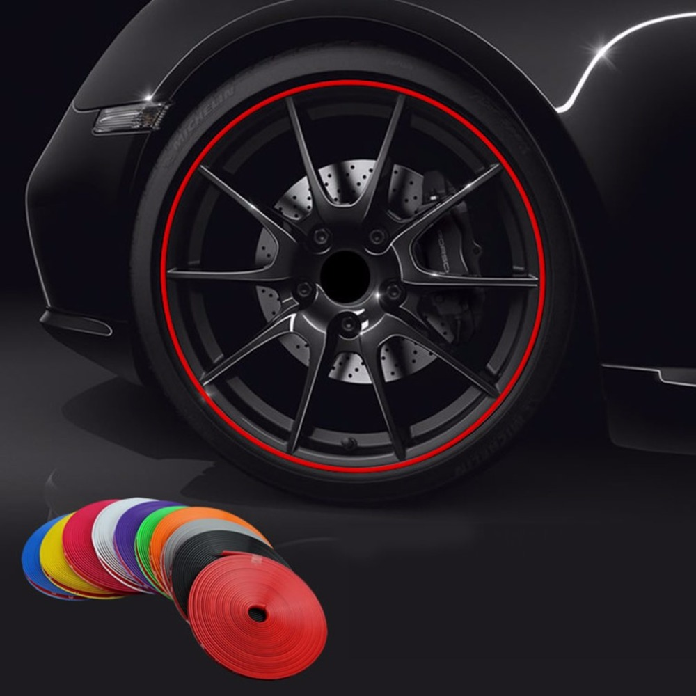 8M/ Roll Rimblades Car Vehicle Color Wheel Rims Protectors Decor Strip Tire Guard Line Rubber Moulding Trim Free Shipping
