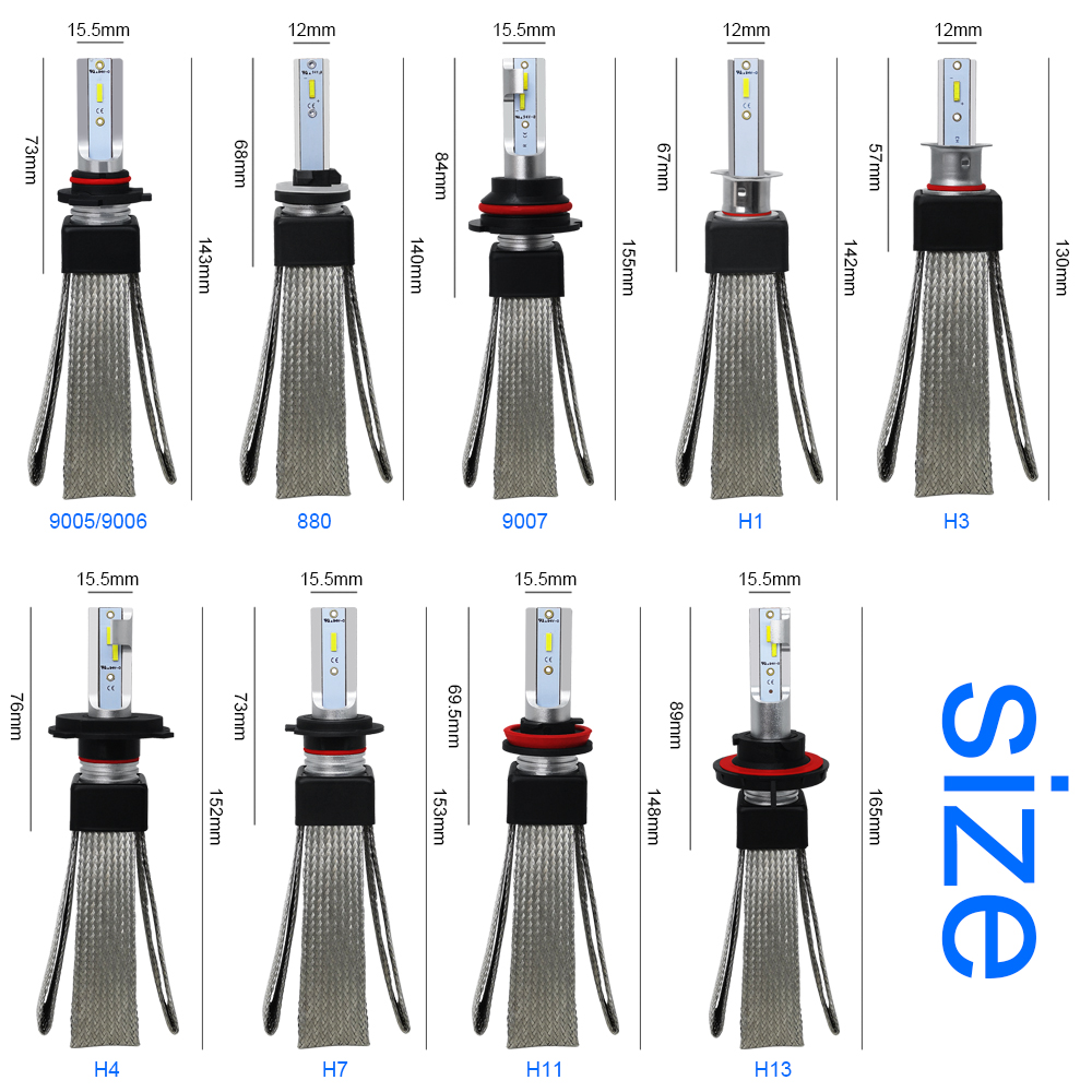 Image 5 - LSlight LED H7 H4 H1 9005 9006 H11 H3 880 9007 HB2 HB3 HB4 H27 LED Headlight 12V 60W 16000LM Auto Bulb Ampoule  Car Light Lamp-in Car Headlight Bulbs(LED) from Automobiles & Motorcycles