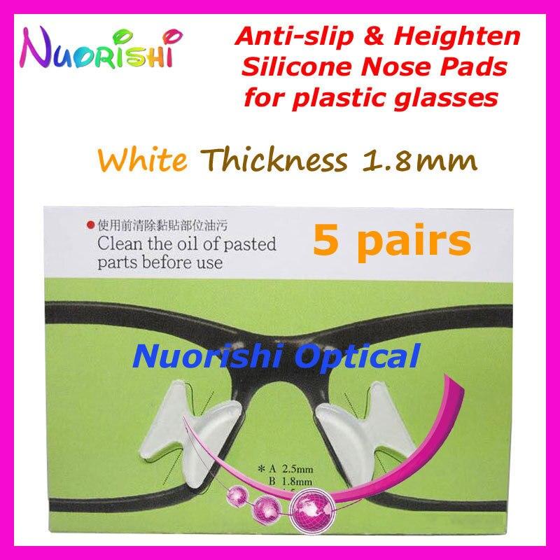 5 пар T2100 Противоскользящие силиконовые накладки для носа, наклейка для ацетатных пластиковых очков, солнцезащитных очков 1,8/2,5/2,8 мм - Цвет: White 18 Thickness