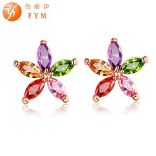 FYM Flower Stud Earring for Women Fashion Rose Gold Color Colorful Zirconia Jewelry Earrings female Ear brincos Pending fym flower stud earring for women fashion rose gold color colorful zirconia jewelry earrings female ear brincos pending