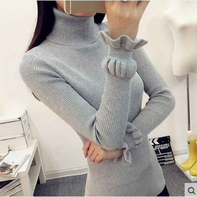 2016 new winter women turtleneck solid cashmere sweater female casual lover oversized pullover pull Femme gray knitted sweaters