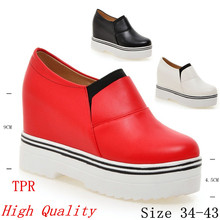 High quality Loafers Wedges Flat Platform Women shoes Height Increasing Slip On Casual Woman Flats Plus Size 34-40.41.42.43
