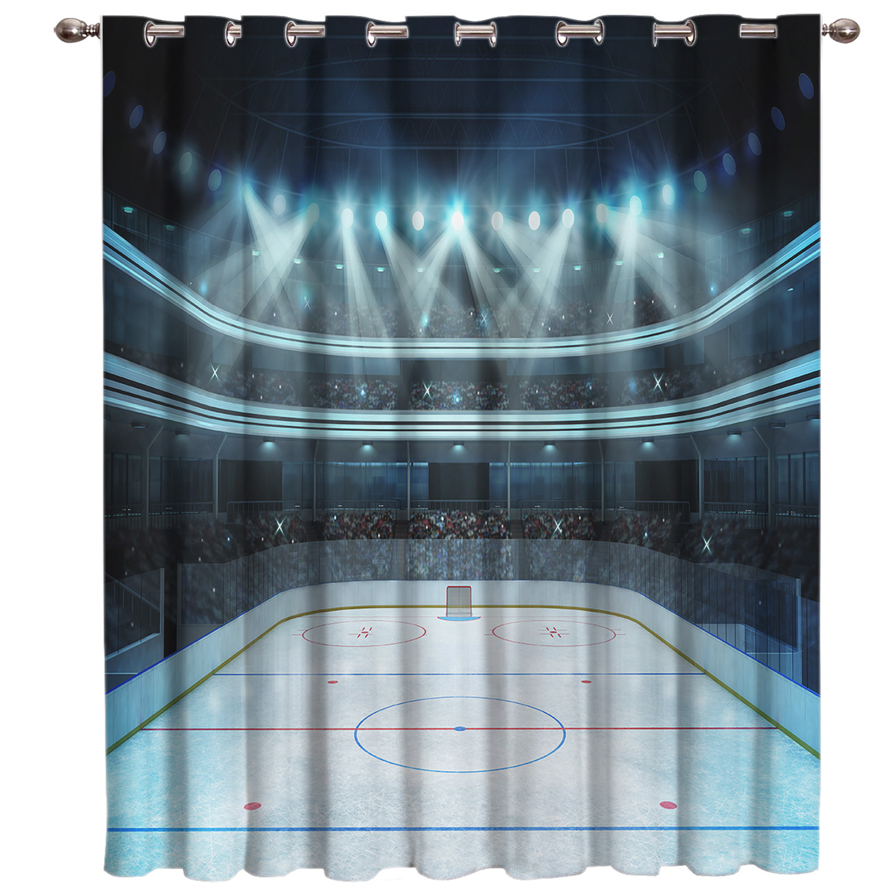 Arena Ice Hockey Room Curtains Large Window Living Room Curtains Kitchen Fabric Floral Drapes Decor Kids Sheer Curtains Girls