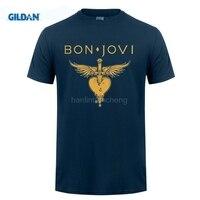 GILDAN Style Mens T ShirtsHigh Quality Custom Printed Tops Hipster Tees T Shirt New Bon Jovi