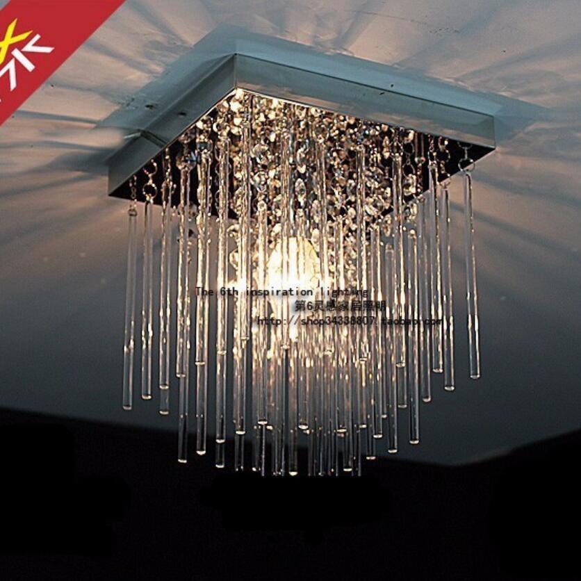 Modern square crystal ceiling lamp led lamps restaurant for Led lights for high ceilings