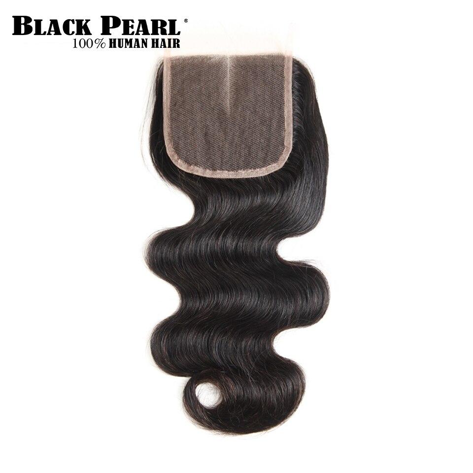 Черный жемчуг Волосы Remy закрытие бразильский объемная волна закрытие шнурка человеческих волос 4x4 бесплатная часть средняя часть из трех ч... ...