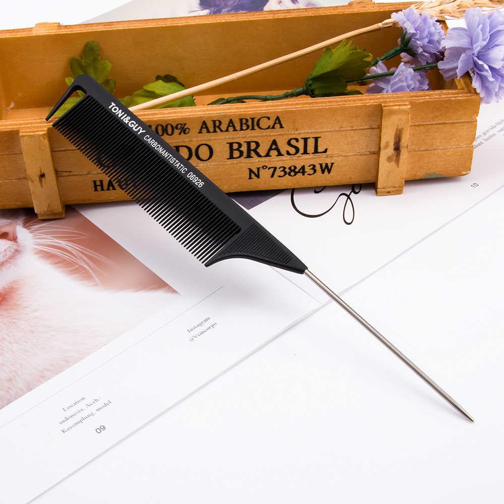 1 pièces 220x28x4mm noir Fine-dent broche métallique antistatique cheveux Style Rat queue peigne coiffeurs outil de coiffure pour la beauté nouveau