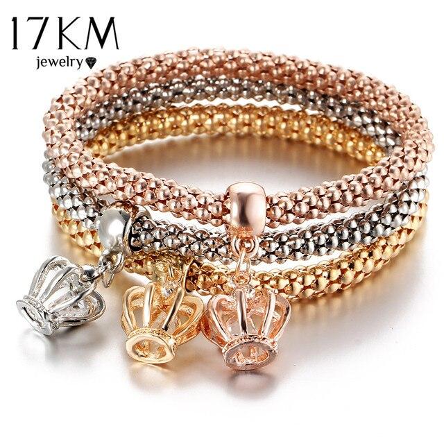 17KM 3Pcs Gold Color Crystal Owl Charm Bracelets For Women Elephant Bracelet Multilayer Bangles pulseira feminina 2018 New