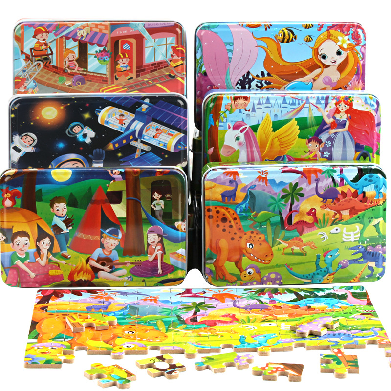 60 Pieces Wooden Puzzles Toys Sets With Iron Box Kids Cartoon Animal Wood Puzzles Educational Toys For Children Christmas Gifts