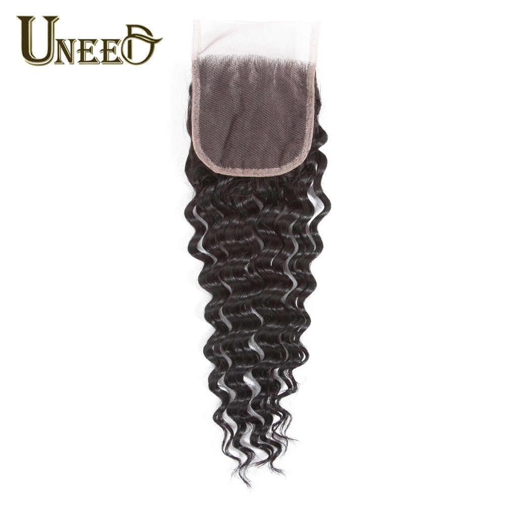 """Uneed Волосы Бразильские глубокие синтетические волосы волнистые 4 """"X 4"""" бразильские человеческие волосы Кружева Закрытие remy волосы бесплатно/средняя часть может совпадать с пучками"""