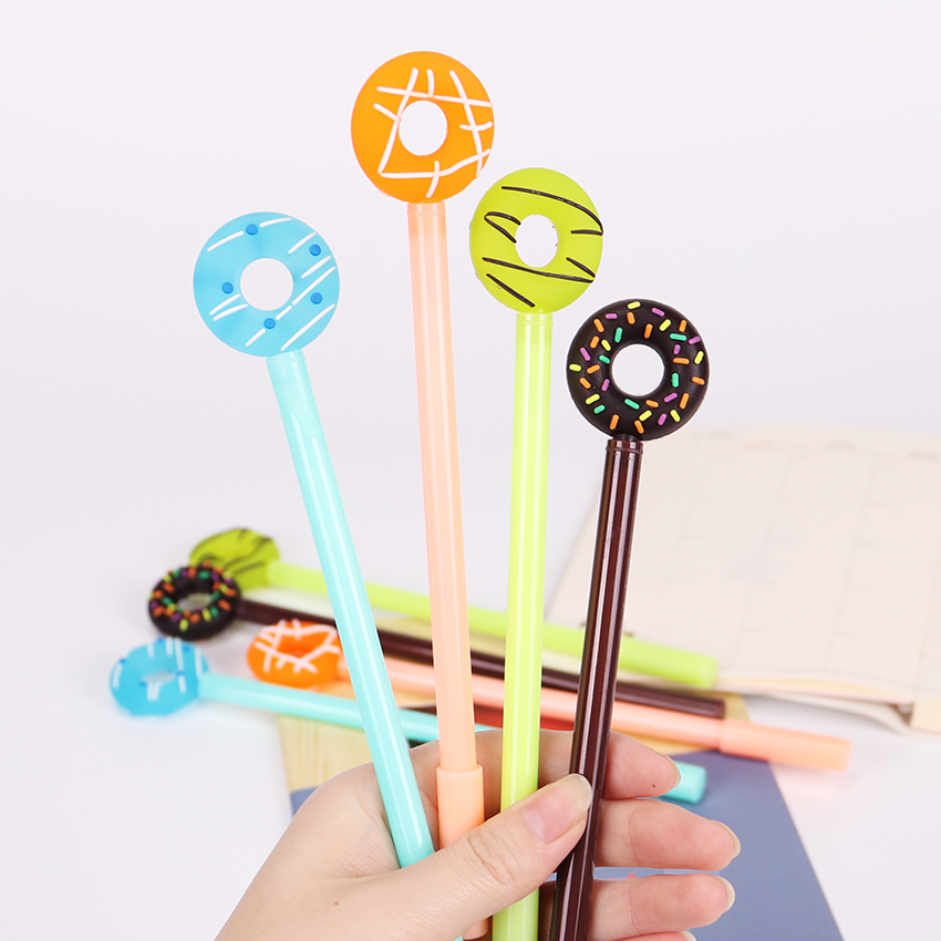 3PCS 0.38mm Cartoon Kawaii Donuts Gel Pens Cute Korean Black Ink Color Signing Pen School Supplies for Kids Student Prize