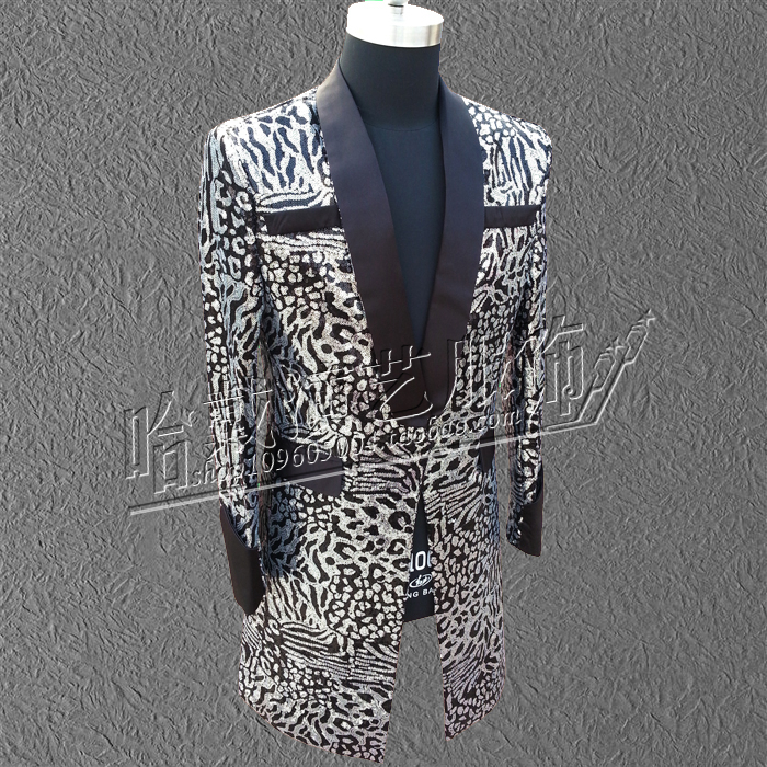 Singer Clothing MZ Exclusive Bigbang GD Concert With Money Black And White Cashew Flowers Full skin Cloak Trench Coat Costumes