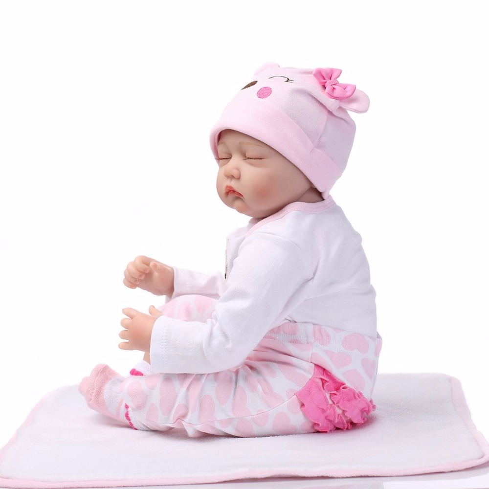Cute 55cm Sleeping Reborn Baby Doll Toy Close Eyes Pink Clothes Soft Body Silicone Newborn Doll For Girls Early Education Toys