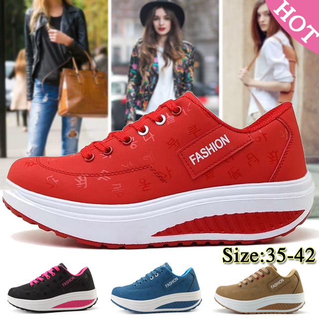 Fashion Women Sneakers Height Increasing Summer Breathable Waterproof Wedges Platform Shoes Woman Pu Leather Casual Shoes Tenis