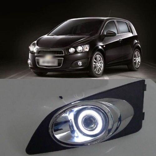 Ownsun Black Chrome Super COB Fog Light Angel Eye Projector Lens for Chevrolet Aveo ownsun innovative super cob fog light angel eye bumper cover for skoda fabia scout