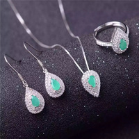 emerald jewelry set 3mm Princess Cut natural emerald ring earrings necklace pendant solid silver emerald jewelry set