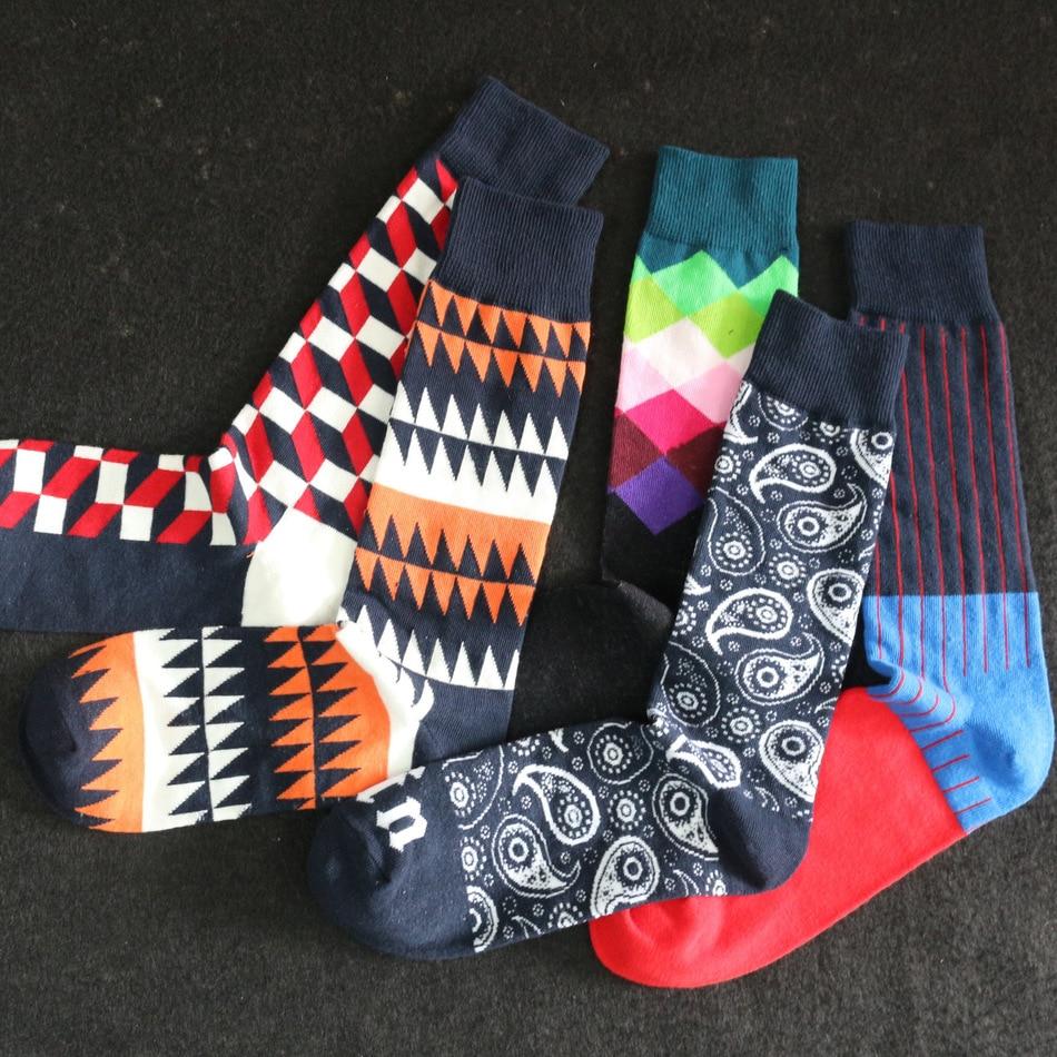 c465f0e32f0 5 пар лот разноцветные мужские носки цветные мужские цветные чёсаный хлопок  носки хлопок Высокое качество Горячая оптовая продажа ромб нос.