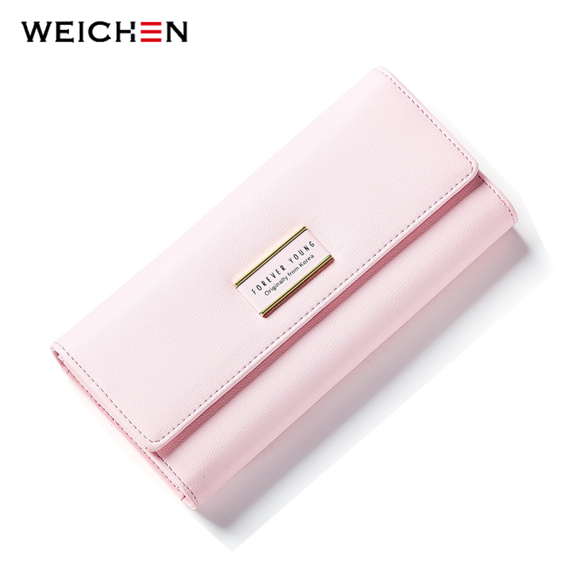 WEICHEN Solid Long Wallet Women Simple Fashion Clutch Wallet Brand Design Lady Purse Female PU Leather Coin Purses Phone Pocket weichen new geometric envelope clutch wallet for women pu leather hasp fashion design wallet for phone money bags coin purse