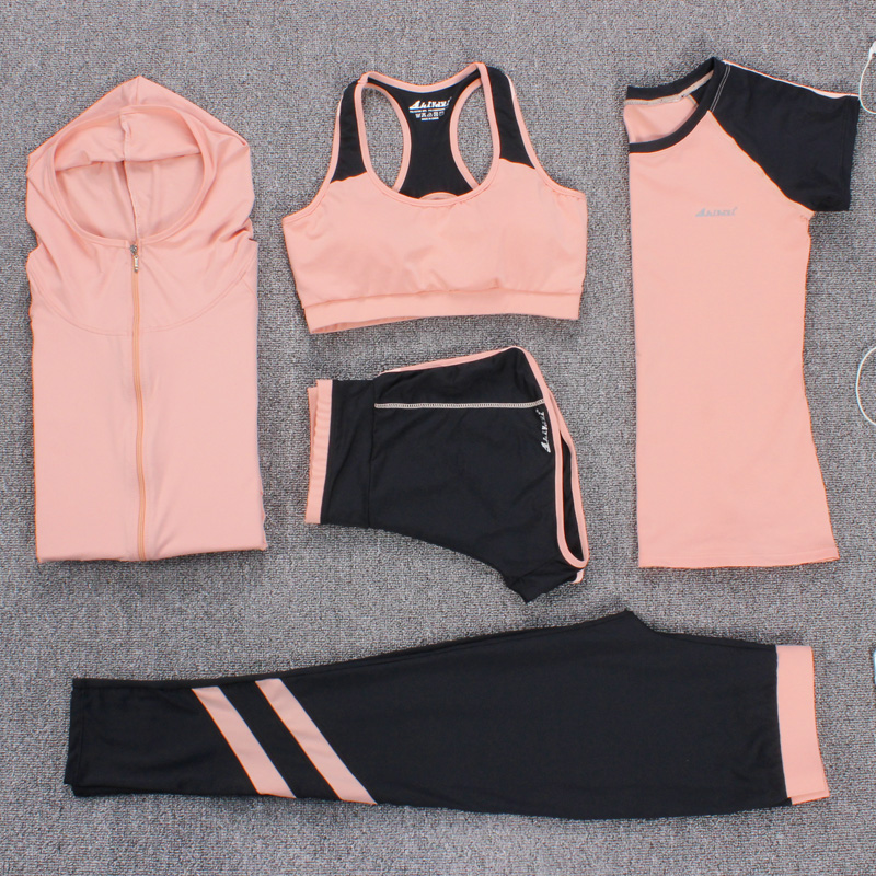 New Yoga Suits Women Gym Clothes Fitness Running Tracksuit Sports Bra+Sport Leggings+Yoga Shorts+Top 5 Piece Set Plus Size M-3XL woman yoga sets sports bra and leggings female slim sportswear running jogging women s fitness gym stretch sport suit clothing