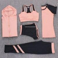 2017 New Yoga Set Women Fitness Running Nylon Solid Tracksuits Sport Bra Pants Short Shirt Sets