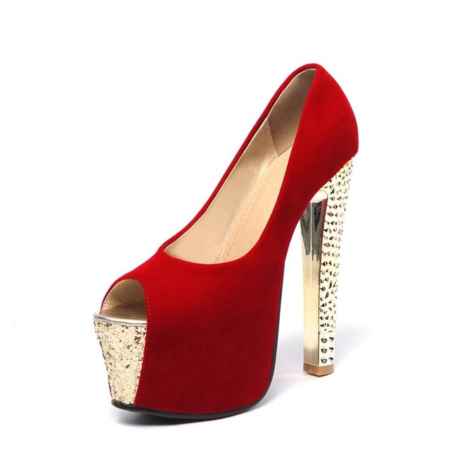 2017 New  Black Red Peep Toe Fashion Sexy High Heel Platform Spring Autumn Lady Shoes