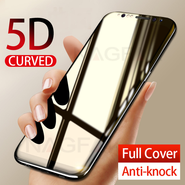 NAGFAK 5D Curved Edge Full Cover Screen Protector For Samsung Galaxy S9 S8 Plus Note 8 Tempered Glass On The S9 S8 Glass Film