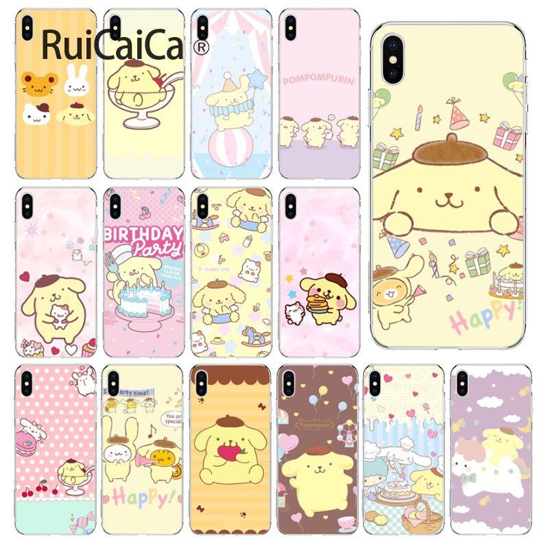 Ruicaica Sanrio pompompurin cartoon girl TPU Transparent Phone Case Cover Shell for iPhone 5 5Sx 6 7 7plus 8 8Plus X XS MAX XR