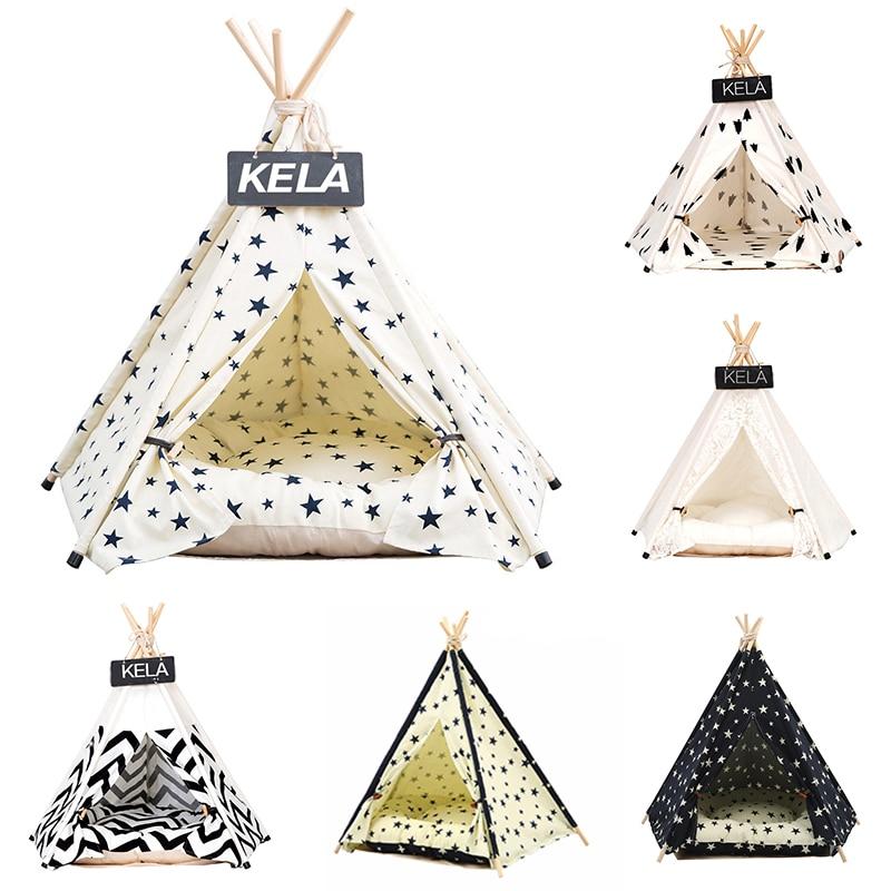 JORMEL Pet Tent Dog Bed Cat Toy House Portable Washable Pet Teepee Stripe Pattern Fashion 2019