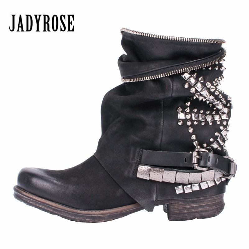 Jady Rosa Retrò Pieno Rivetti Studded Ankle Boots per Le Donne Autunno Inverno Martin Stivali In Vera Pelle di Gomma Delle Signore Piane