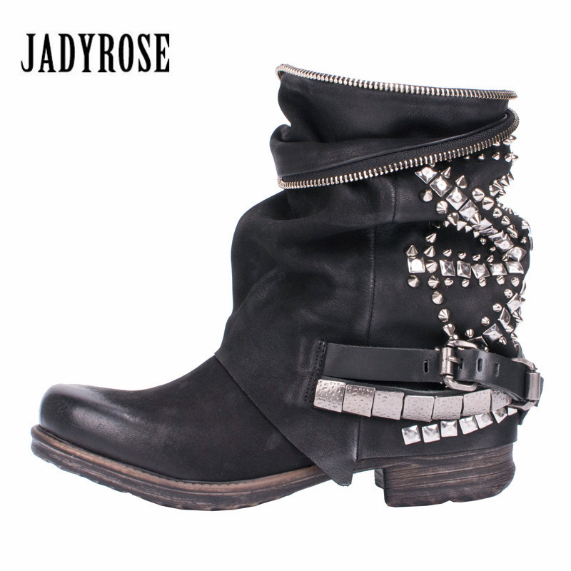 Jady Rose Retro Full Rivets Studded Ankle Boots for Women Autumn Winter Riding Boots Genuine Leather Rubber Flat Ladies ShoesJady Rose Retro Full Rivets Studded Ankle Boots for Women Autumn Winter Riding Boots Genuine Leather Rubber Flat Ladies Shoes