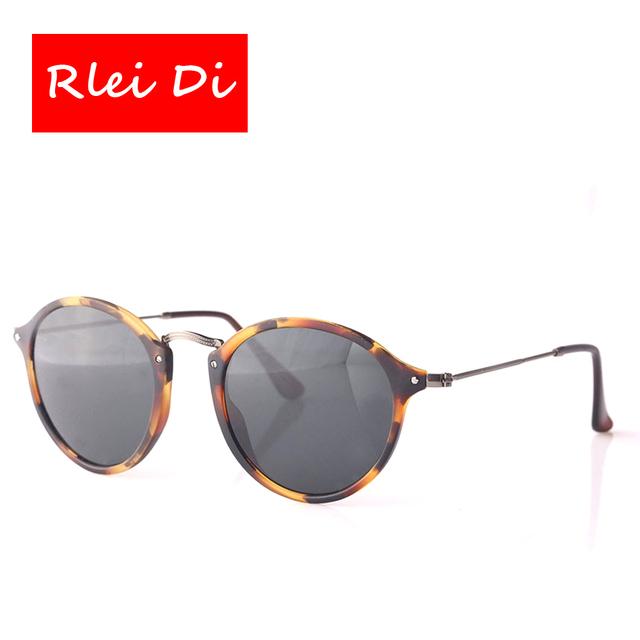 Rlei di das mulheres dos homens de alta qualidade retro rodada óculos de sol uv400 proteção dos olhos rodada mancha tortoise moldura preta lente verde 49mm