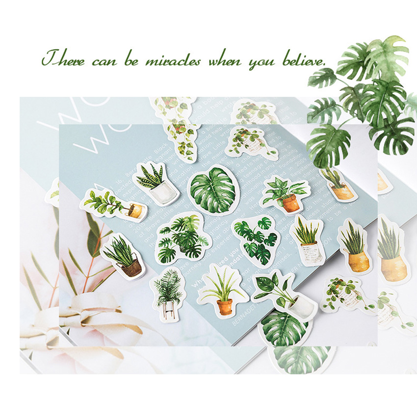 20pack lot Green Potted plant life Diary Stickers Cute Planner Scrapbooking DIY Dairy Sticker Office School Supplies in Stickers from Home Garden
