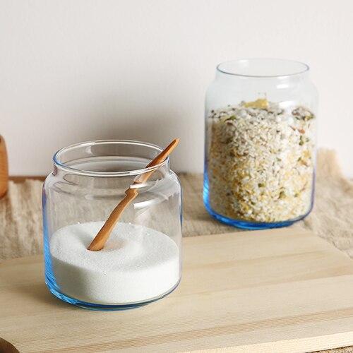 Печать резервуар прозрачные стеклянные банки кухня хранения бутылки зерна горшок домой органайзера