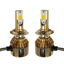 1pcs  H4 Two-tone LED H7 H8 HB4 H1 HB3 Auto S2 Car Headlight Bulbs 36w 3800LM Styling 6500K 4300Kled automotivo Gold shell