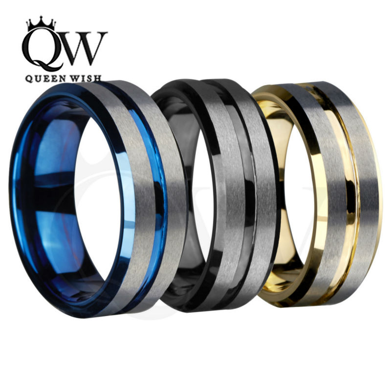 queenwish 8mm mens tungsten wedding bands silvering brushed matte grooved center classic. Black Bedroom Furniture Sets. Home Design Ideas